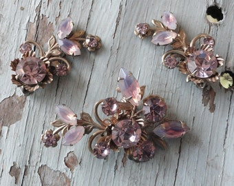 Palest Pink Rhinestone Vintage Brooch and Earring Set