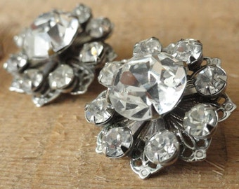 Vintage Rhinestone Earrings with Silver Filigree