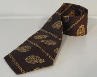 Brown with Gold Suit of Armor Stripes Vintage Neck Tie