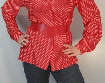 Red with White Polka Dots Vintage Secretary Blouse Shirt 1950s 1960s