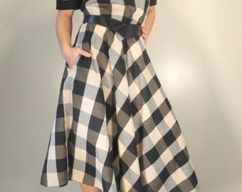 Black and Brown Checked Vintage Dress 1980s
