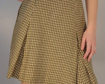 Olive Green and Tan Vintage Wool Pleated Skirt 1960s 1970s Size Extra Small/Small