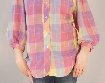 Pastel Plaid Vintage Blouse Shirt Top 1970s Size Large/Extra Large