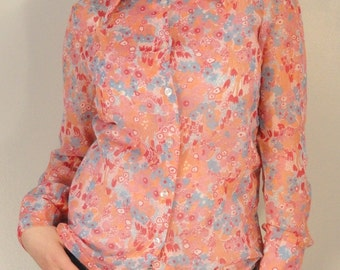Sheer Peachy Pink Floral Vintage Blouse Shirt 1970s Size Large
