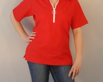Mod Groovy Tomato Red Ribbed Vintage Shirt Top 1960s 1970s Size Small/Medium