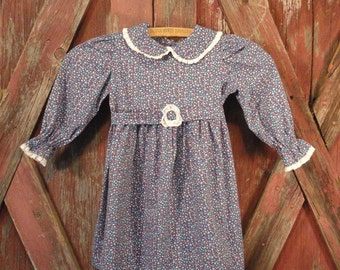 Blue Calico and White Lace Vintage Girls Dress 1970s
