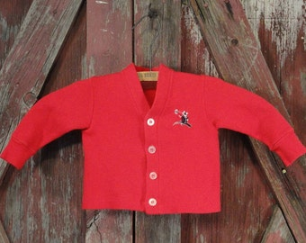 Bright Red Vintage Boys Jacket Sweater 1960s