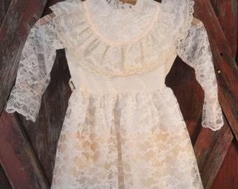 Lacy Vintage Girl's Party Dress Off White with a Touch of Peachy Pink 1970s