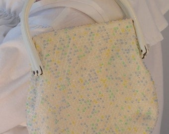 Vintage Reversible White Clear and Pastel Beaded Handbag Purse 1960s