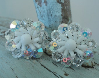 Sparkling White and Iridescent Glass Beaded Vintage Earrings