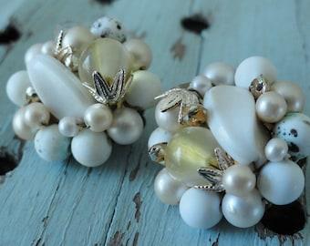 Shades of White Beaded Vintage Earrings