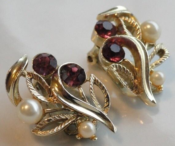 Amethyst Rhinestones and Pearls Vintage Lisner Earrings