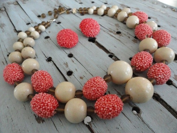 Chunky Vintage Necklace and Earring Set Wood Glass and Nubby Beads