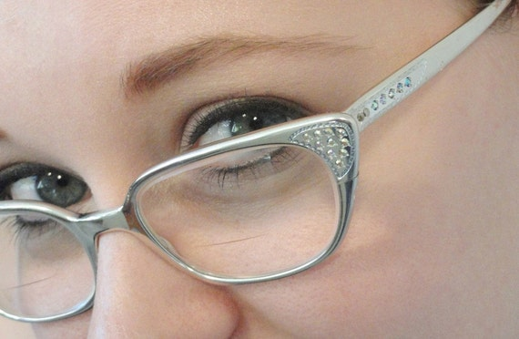 Eyeglasses Frames With Bling : Silver Aluminum Vintage Cat Eye Eyeglass Frames by ...