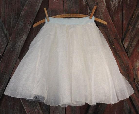 Girl's Vintage Tutu White Organza with Blue Satin Waistband Petticoat