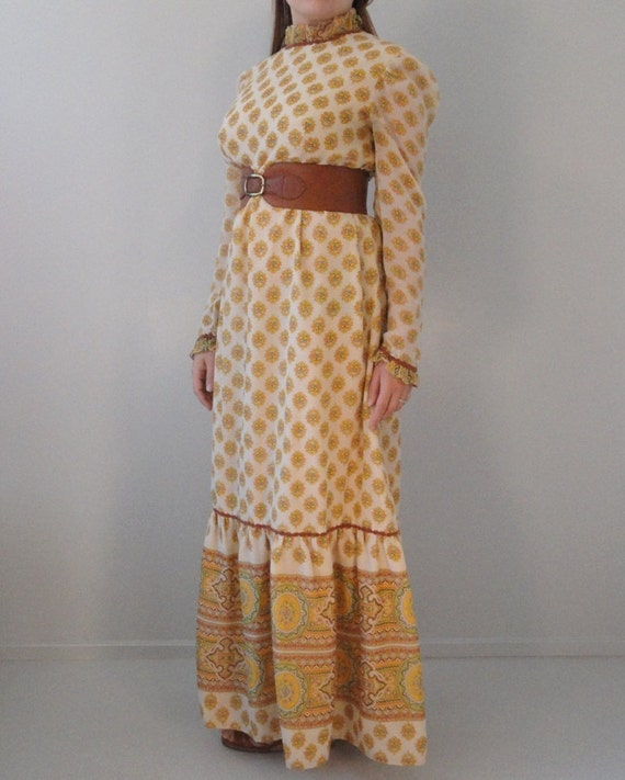 Items Similar To Beige Vintage Maxi Dress Granny Gown