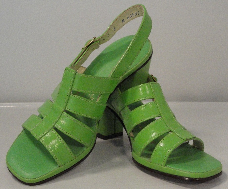 Funky Lime Green Vintage Leather Sandals Chunky By