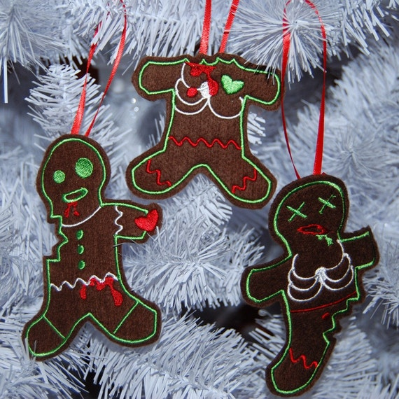 Felt Embroidery Zombie Gingerdead Christmas Ornament set