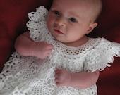 White Thread Crochet Baby Dress size 0-3 month