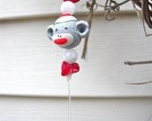 "SocK MonKeY, ""LeT's MONKEY Around,"" WINDCHIMES Wind Chimes  made with REcYcLeD anTiQue SILVERWARE with PoLymer Clay Sock Monkey  beads"