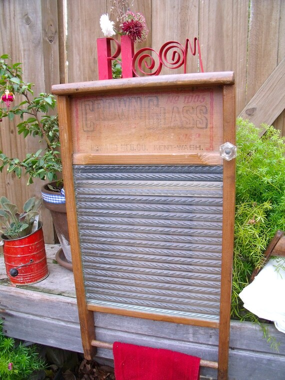 Vintage Antique Crown Glass Washboard Extremely Rare Recycled