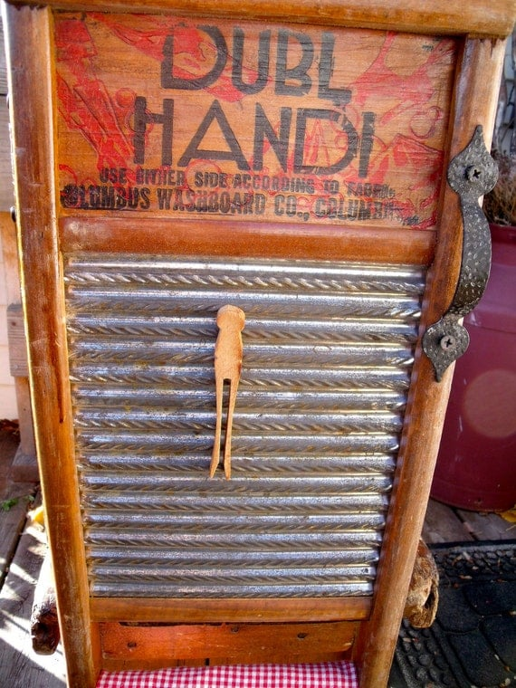 vinTage anTiQue UPcycLeD DubL HanDi WASHBOARD inTo a WALL CABINET-- LinGeRiE siZe-REcycLeD / REpurposeD--with anTiQue HanDLe