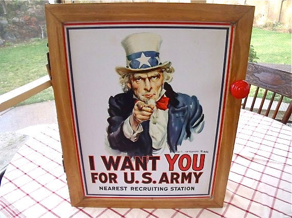 """uniQue Tin Sign WALL CABINET ---"""" I Want You For U.S. Army   Nearest Recruiting Station"""" -- Uncle Sam"""