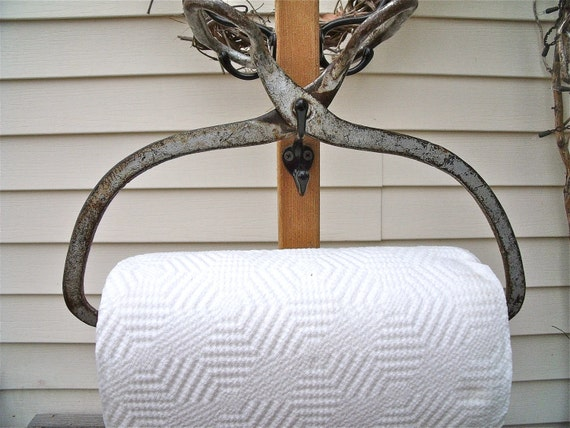 primiTive anTique IcE TonGs Recycled inTo a PAPER TOWEL HOLDER-HeaVy DuTy CasT iRoN with GreaT SiLver paTina-plus Bounty Basics paper towels