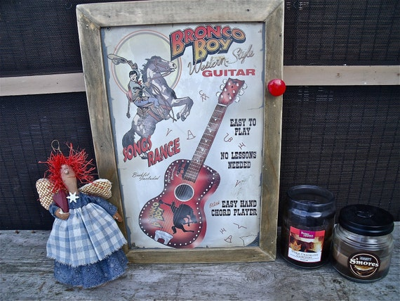 """uniQue TiN Sign WALL CABINET-""""Bronco Boy Western Style Guitar""""-with ReD Wooden KnoB-UgoT2C"""