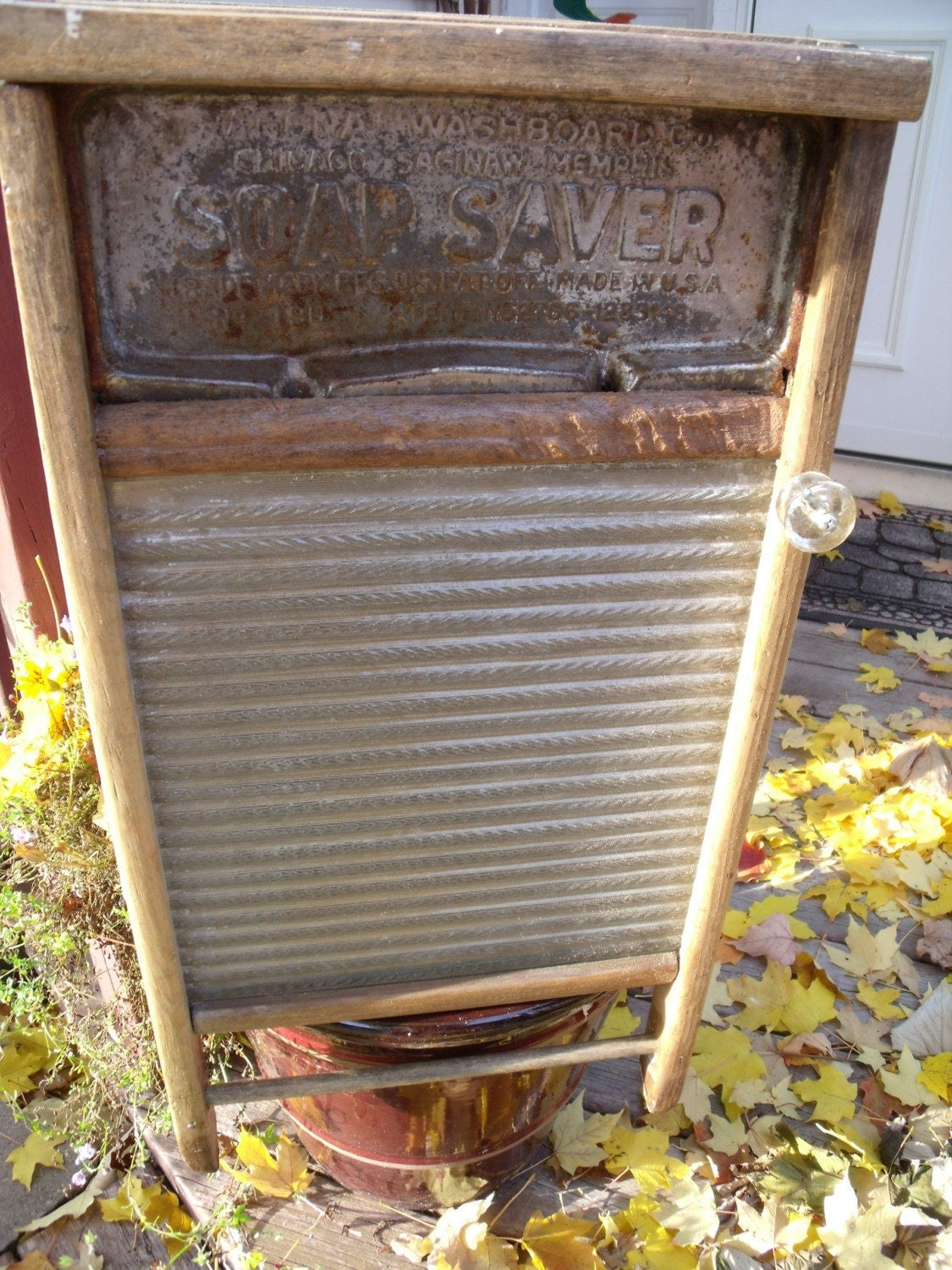 Vintage Antique Washboard Cabinet Glass Scrub Surface With