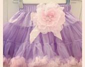 Baby Toddler & Girl lilac pink  rosette flower girl soft fluffy vintage pettiskirt tutu with removable flower hair clip