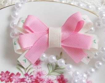 baby toddler girl pink and ivory boutique double layer floral bow non slip hair clip
