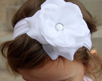 newbown baby toddler girl white christening baptism rose flower girl bridal headband