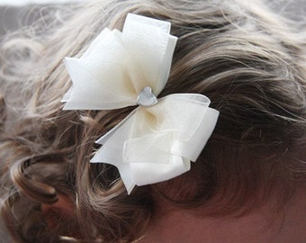 Baby,Toddler & Girl organza satin bow non slip hair clip white, ivory or pink christening baptism bridal Flower Girl
