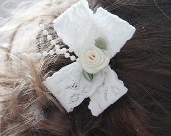 BABY GIRL or LADY vintage inspired white ivory or pink lace bow pearls flower non slip hair clip christening bridal
