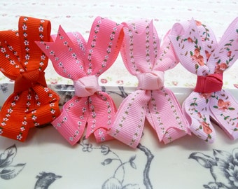 Newborn Baby girl pink or red floral bow  non slip hair clip-choose 1