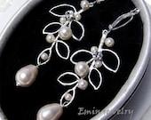 Leaf Bridal Earrings, Ivory Pearl Earrings, Austrian Crystal Wedding Earrings, Bridesmaids Earrings, Swarovski Pearl Silver Earrings