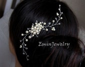 Larger Size Floral Bridal Hair Comb - Swarovski Ivory White Pearls crystal rhinestone Silver Wedding Hair Combs Accessories Vine hair piece
