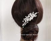 White Swarovski Pearl Rhinestone Bridal Hair Comb -  Vine Silver Wedding Brides Bridesmaid Hair Jewelry haarkamm