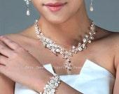 Swarovski Pearl Bridal Jewelry Set - Necklace Bracelet Earrings, Crystals Rhinestone Ivory White Pearls Wedding Jewelry Sets for Brides