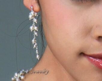 Pearls Cluster Wedding Earrings, Bridal Earrings, Off White Ivory Cream Pearls Silver Long Stud Earrings
