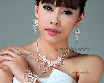 Bridal Jewelery Sets,Pearl Wedding Jewelry Sets,  Gold Bridal Jewellery sets for brides,Swarovski Pearls Crystals Wedding Jewellery T1511302