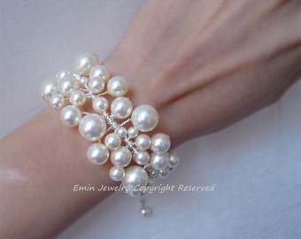 Ivory Swarovski Pearl Vine Lace Bridal Cuff Bracelet - Wedding Gifts for Brides and Bridesmaids B16
