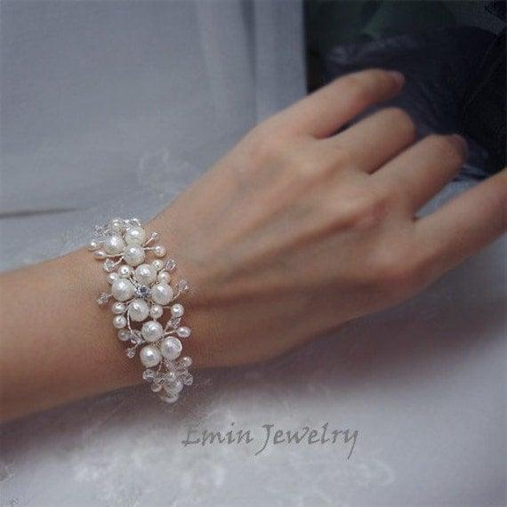 Wedding Cuff Bracelet, NAtural Off White Pearls Floral Silver Bridal Bracelet - Rhinestone Crystal Vine Wedding Jewelry for Bride Bridesmaid