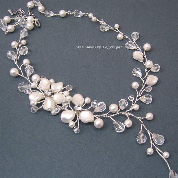 Pearl Bridal Necklace, Swarovski Pearl Wedding Necklace, Ivory Off White Pearls Austrian Crystals Rhinestone Wedding Jewelry for Brides