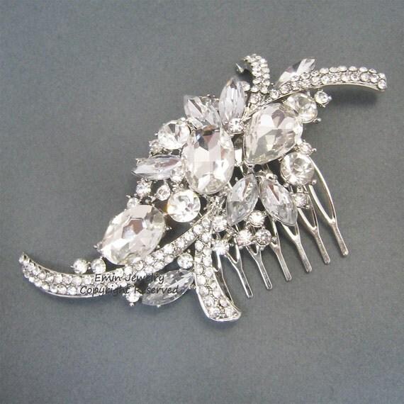 Bridal Hair Comb, Rhinestone Wedding Hair Accessories, Vintage Hair Comb, Crystal Diamante Hair Comb,Bridal Fascinator Jewelry - C019
