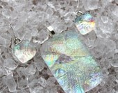 Cast Dichroic Glass Pendant and Earring Set