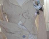Designer knit vintage style puff sleeve ,bolero cardigan.