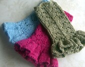 Custom Made Luscious Fingerless Faux Suede Gloves (wrist warmers) with Ruffle Your choice of 6 Colors and Your Yarn and Ruffle Preferences