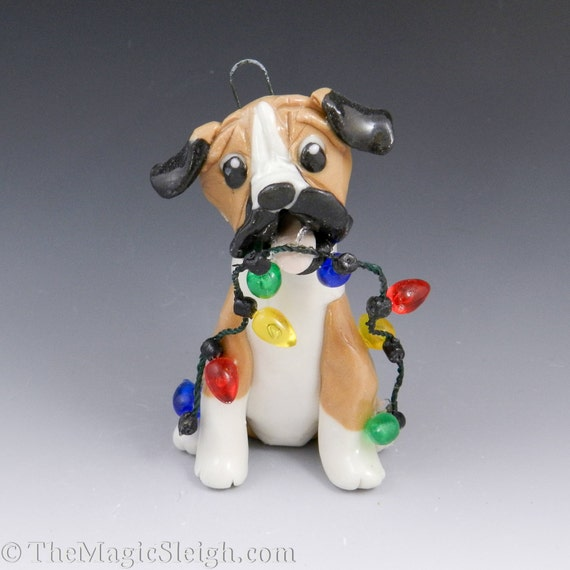 Boxer Ornament with Christmas lights Original Sculpture